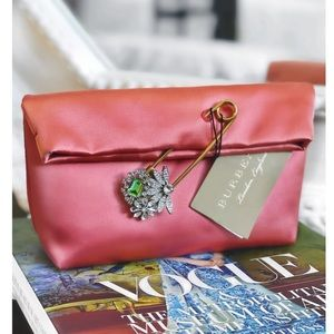 BURBERRY Satin Clutch with Crystal Pin NWT